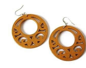 Boho Earrings - Statement Earrings - Gold Tone Earrings - Big Chunky Wood Earrings - Nickel Free Earrings - Laser Cut Wood Earrings - Dangle