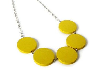 Chunky yellow necklace - Neon yellow necklace - Geometric jewelry - Neon jewelry - Bright yellow beaded necklace - Chain necklace