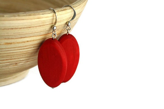 Red Wood Earrings on Nickel Free Fish Hooks, Lightweight Earrings