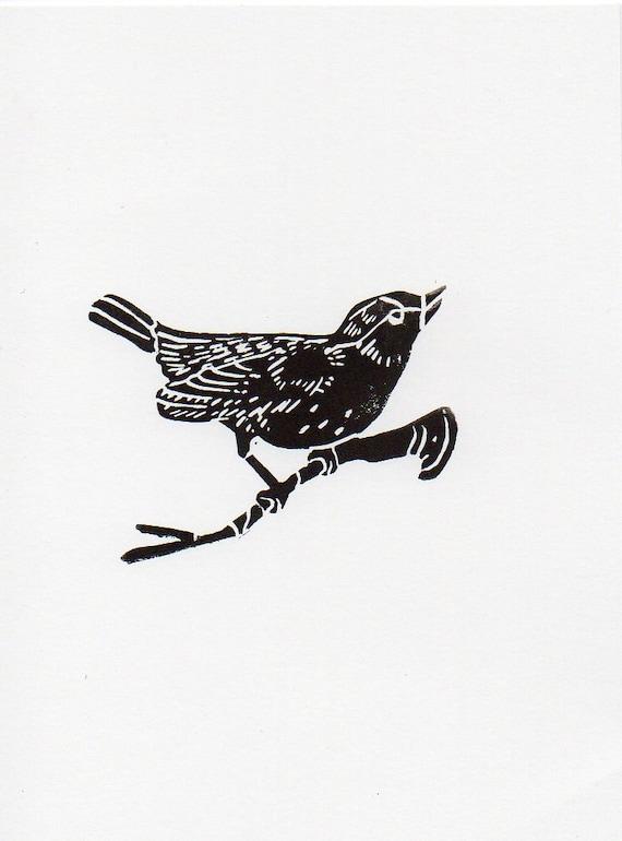 Black and White Bird on a Branch linocut woodblock printmaking art print 5 x 7
