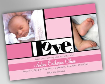 Custom Birth Announcement Photo Cards with Bouncy Love Theme, Modern and Chic New Mom, Printable Personalized Design in Your Chosen Color