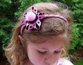 Polka Dot Headband Pink Black - girls, dotted, eco friendly