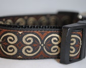 "Black, Brown, and Tan Scrolls 1"" Adjustable Dog Collar"