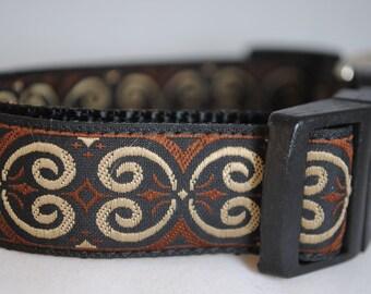 "Black, Brown, and Tan Scrolls 1"" Adjustable Dog Collar"