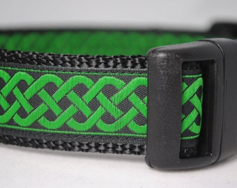 "Celtic Knot Black and Green Jacquard 1"" Adjustable Dog Collar - Also available as a Martingale"