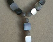 Stormy Shimmer - Stunning Labradorite and Mother Of Pearl Gemstone Necklace