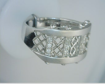 Etruscan Style 14kt White Gold Band With Diamonds by Mon Coeur Fine Jewelry New Orleans