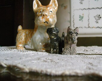 Scottie Terrier Figurines- 1950's Metal, Chalkware, Lusterware Three Dog Night 3 Figurines