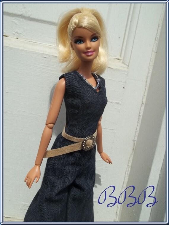 Barbie Clothes Barbie Denim Jumpsuit Vintage Style Barbie Suede Belt Barbie Necklace Doll Outfit and Accessories