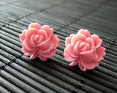 Coral Pink Flower Post Earrings with Resin Lotus Flower. Jewelry by Stumbling On Sainthood. Handmade Jewelry.