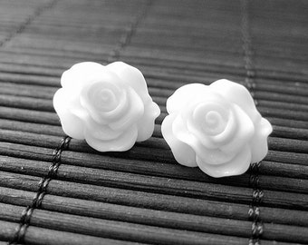 White Rose Earrings. Silver Post Earrings. Rose Earrings. Flower Jewelry. White Earrings. Handmade Jewelry.