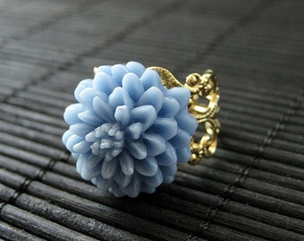 Flower Ring: Baby Blue Mum Ring with Gold Filigree Adjustable Ring Base. Flower Jewelry. Handmade Jewelry.