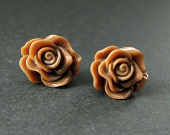 Chocolate Brown Rose Earrings. Silver Post Earring. Flower Earrings. Stud Earrings. Flower Jewelry. Handmade Earrings.