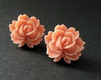 Lotus Flower Earrings in Coral Peach and Bronze Earring Posts. Flower Jewelry. Handmade Jewelry.
