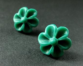 Dark Green Flower Earrings with Silver Earring Posts. Outie Button Flower Jewelry. Handmade Jewelry.