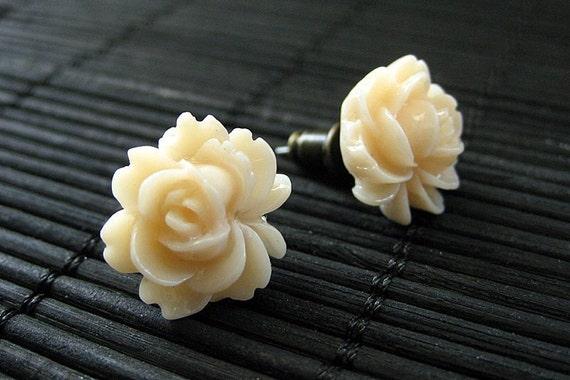 Rose Lotus Flower Earrings in Apricot Cream and Bronze Stud Earrings. Flower Jewelry by StumblingOnSainthood. Handmade Jewelry.
