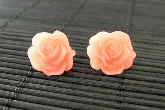 Coral Peach Rose Earrings in Bronze Post Earrings. Handmade Jewelry by StumblingOnSainthood. Handmade Jewelry.