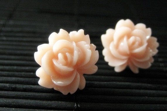 Lotus Flower Earrings in Sweet Peach and Silver Stud Earrings. Handmade Jewelry.