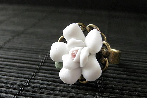 White Flower Ring with Porcelain Flower and Bronze Adjustable Ring Base. Handmade Jewelry.
