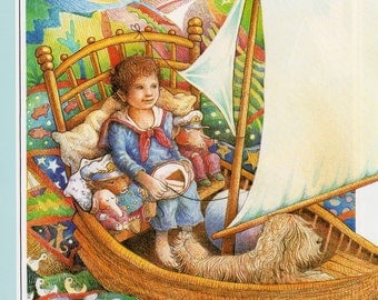Children's Storybook prints Sailing Moon Stars Boys Girls Sailboat Ship Baby boy Sailor suit Nursery prints Child room decor Christian print