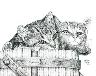 Original, custom Pet Portrait, Pointillism, Stipple, Pen and Ink Drawing