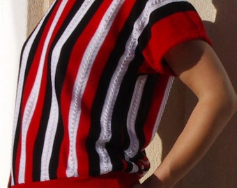 Vintage top, Black, White and Red Jumper, Striped Top