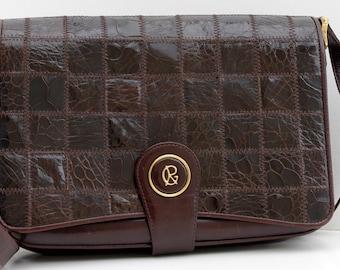Vintage Leather Shoulder Bag, Large Messenger Bag, Dark Brown Leather Bag, 80s Vintage