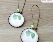 Clover vintage earrings, Botanical earrings, Clover pendant, hoop earrings. Happiness luck earrings, Green earrings nature earrings weddings