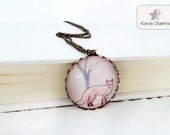 Vintage Fox Necklace. Woodland necklace. Forest Nature Jewelry. Soft pink