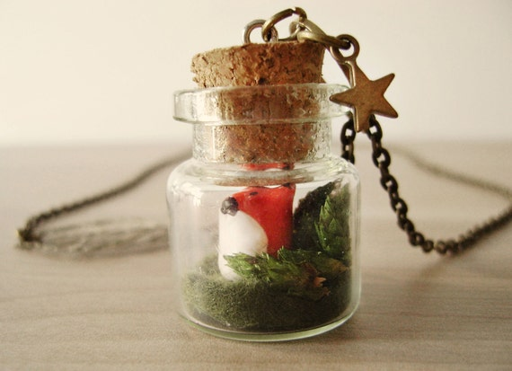 Fox terrarium necklace. Woodland, forest. Tiny fox necklace. Woodland boho necklace
