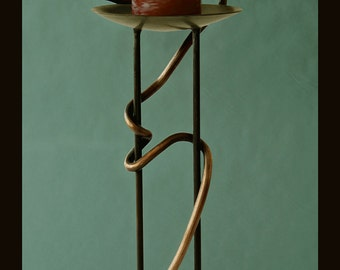 Delaforja Wrought Iron Candelabra with Serpent Motif in Antique (Florentine) Bronze by Nyree L. Smith
