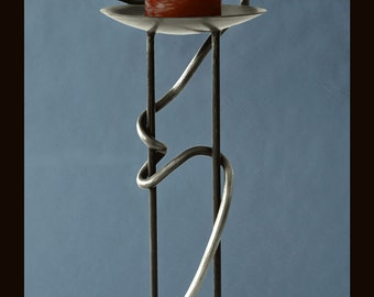 Delaforja Wrought Iron Candelabra with Serpent Motif in Antique Silver by Nyree L. Smith