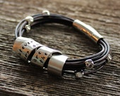 Personalized Silver & Leather Bracelet Hand Stamped With Custom Wide Spinning Message, Personalized Men's Bracelet, Mens Gift, Woman's Gift
