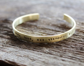 Personalized Golden Brass Skinny Cuff- Hand Stamped Message, Bridesmaid Gift - Ella Bracelet