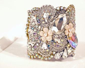 Stunning All Swarovski Crystal Wedding Cuff Clasp or Silk Ribbion Tie