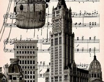 NEW YORK BALLOON, original art print giclee print poster