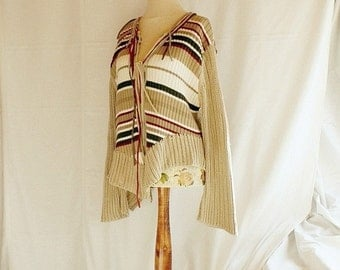 Asymmetrical Cardigan Size M L Miedium Large Stripes Beige Blazer Top Shabby Chic Eco Friendly Style Upcycled Woman's Clothing