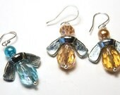 INDUSTRIAL Wing-Nut BEES, Blue Angel Earrings, Golden Yellow Honey Bee Earrings, Eco Friendly Jewelry, Fun Gift for Busy Bee