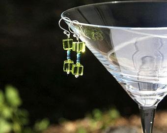 Miniature Blue Resistor, Wearable Tech, Computer Earrings, Eco Friendly Jewelry, Recycled Electronic, Geeky Earrings, Green Glass Cube