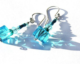 Wearable Tech, Mini RESISTOR. Techno Geekery Earrings. Aqua Blue Crystal Cube. Recycled Electronic Parts. Fashion Statement. Eco Friendly.