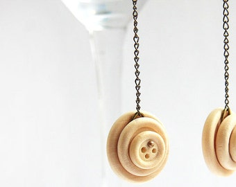 Summer Party Gift Bohemian Earrings Long Chain Earrings Natural Wooden Button Earring Gunmetal Chain Antique Brass Earrings  Boho Jewelry