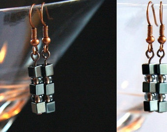Summer Party Gift Petite Jewelry Industrial Earrings Stacked Mini Hematite Cubes Tiny 4mm Stone Cubes Metallic Gray womens Gift for her
