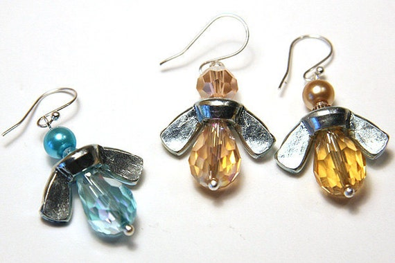 INDUSTRIAL Wing-Nut BEES, Angel Earrings, Golden Yellow Honey Bee Earrings, Eco Friendly Jewelry, Fun Gift for Busy Bee