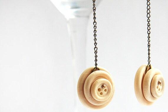 Summer Party Gift Bohemian Earrings Long Chain Earrings Natural Wooden Button Earring Gunmetal Chain Antique Brass Earrings  Boho Jewelry