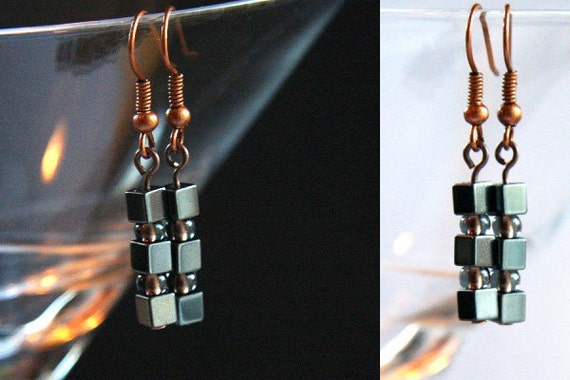 Petite Jewelry, Industrial Earrings, Stacked Mini Hematite Cubes. Copper Lined Black Diamond Seed Beads. Tiny 4mm Stone Cubes. Metallic Gray
