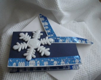 Paper Christmas Note Card & Envelope  A Snow Flake Ornament To Hang on Tree