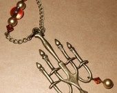Candelabra Necklace, Ornate Candlestick Pendant, Quirky Jewelry, Beaded Candle Necklace, Candlestick Necklace, Big Pendant, Unusual Jewelry