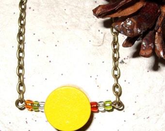 Yellow Necklace, Wood Jewelry, Yellow Circle, Wood Block Jewelry, Bright Yellow, Round Wood Bead, Circle Bead, Simple Necklace, Yellow Wood