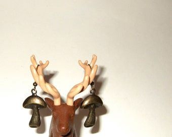 Mushroom Earrings, Woodland Jewelry, Simple Drop Earrings, Mushroom Charms, Toadstool Jewelry, Dangle Earrings, Bronze Toadstool, Woodland