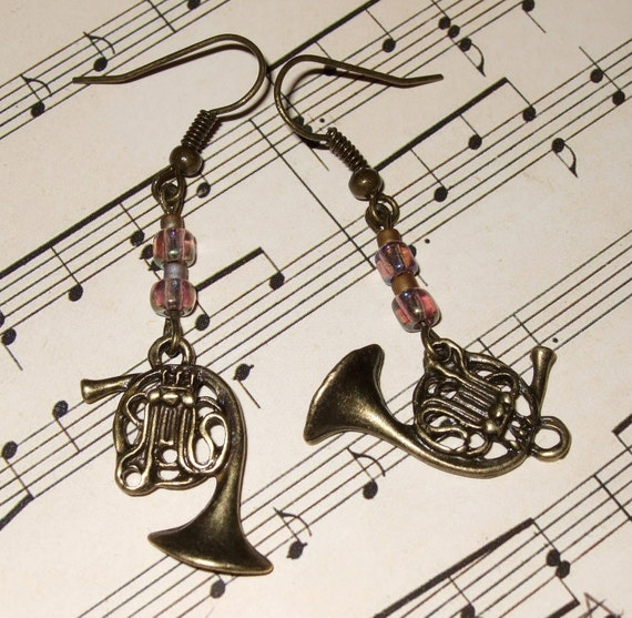 French Horn Earrings, Instrument Charm, Drop Earrings, French Horn Charm, Music Lover Jewelry, Band Geek, French Horn Jewelry, Musician Gift